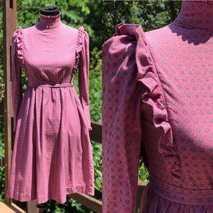 Vintage 80s Ralph Lauren Pink Ruffle Prairie Dress